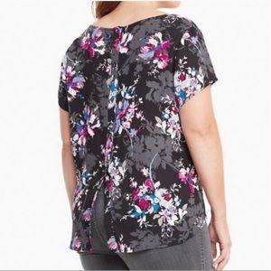 Torrid black pink floral blouse button up back 12